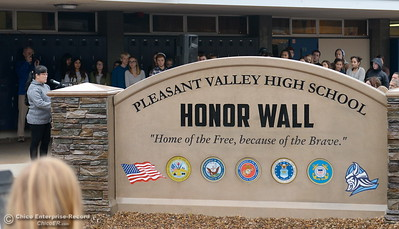 Claire Perry, stepmother of former PVHS student Sgt. John W. Perry who was killed in Afghanistan speaks during the Veterans Glen dedication ceremony at Pleasant Valley High School in Chico, Calif. Wed. Nov. 30, 2016. (Bill Husa -- Enterprise-Record)