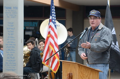 Tim O'Connell, a Veteran and representative for Noon Rotary speaks during the Veterans Glen dedication ceremony at Pleasant Valley High School in Chico, Calif. Wed. Nov. 30, 2016. (Bill Husa -- Enterprise-Record)
