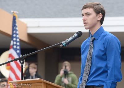 PVHS student Garrett Kemp speaks during the Veterans Glen dedication ceremony at Pleasant Valley High School in Chico, Calif. Wed. Nov. 30, 2016. (Bill Husa -- Enterprise-Record)