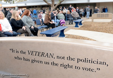 Benches engraved with sayings honoring veterans are seen at the Veterans Glen dedication ceremony at Pleasant Valley High School in Chico, Calif. Wed. Nov. 30, 2016. (Bill Husa -- Enterprise-Record)