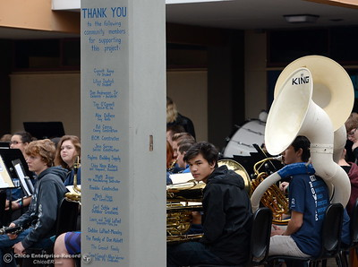 The PVHS Band sets up as students and veterans gather for the Veterans Glen dedication ceremony at Pleasant Valley High School in Chico, Calif. Wed. Nov. 30, 2016. (Bill Husa -- Enterprise-Record)