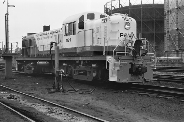 P&W 161 in the Worcester yard with the gas tanks in the background - 1973 - Al Arnold photo