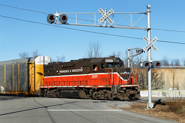 Train GRWO southbound out of the Gardner, MA yard 2012 – Bob Arnold photo