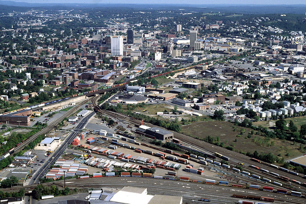 Aerial of the P&W yard with downtown Worcester in the background 1998 – Bob Arnold photo