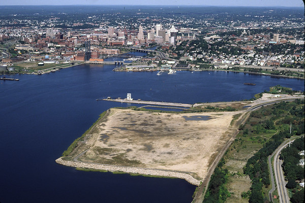 """Aerial of the """"Providence Port"""" with Providence in the background 1998 – Bob Arnold photo"""