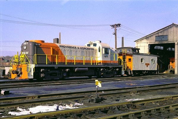 The very first P&W run was to Woonsocket with engine 161 and a caboose – Feb. 1973 - Al Arnold photo