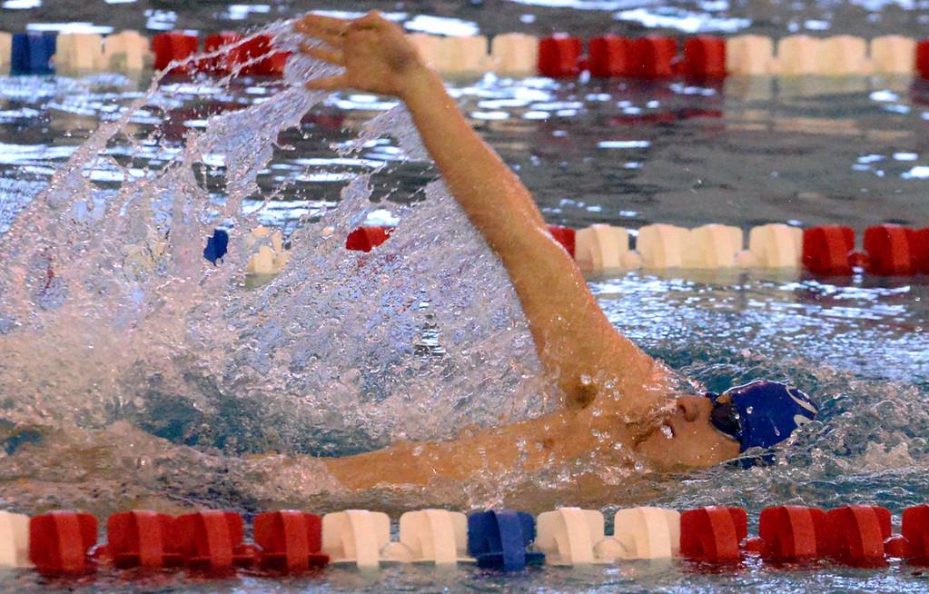 . (Bob Raines/Digital First Media)   Central Bucks South\'s Tom Khayt swims the backstroke leg of the boys 200 yard individual medley during Friday\'s meet at Souderton Jan. 12, 2018.