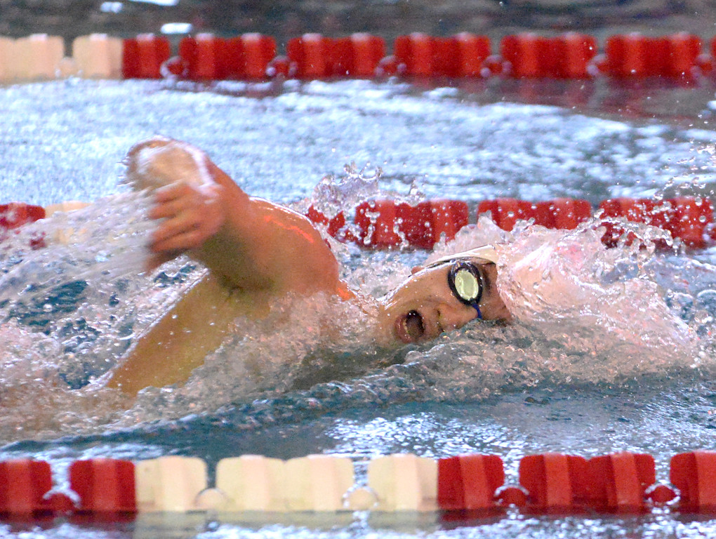 . (Bob Raines/Digital First Media)   Storm Krader swims the boys 200 yard freestyle for Souderton during Friday\'s meet with Central Bucks South Jan. 12, 2018.