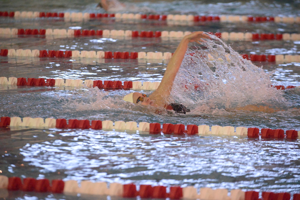 . (Bob Raines/Digital First Media)   Jenny Rogers swims in the backstroke leg of the girls 200 individual medley for Souderton during Friday\'s meet with Central Bucks South Jan. 12, 2018.