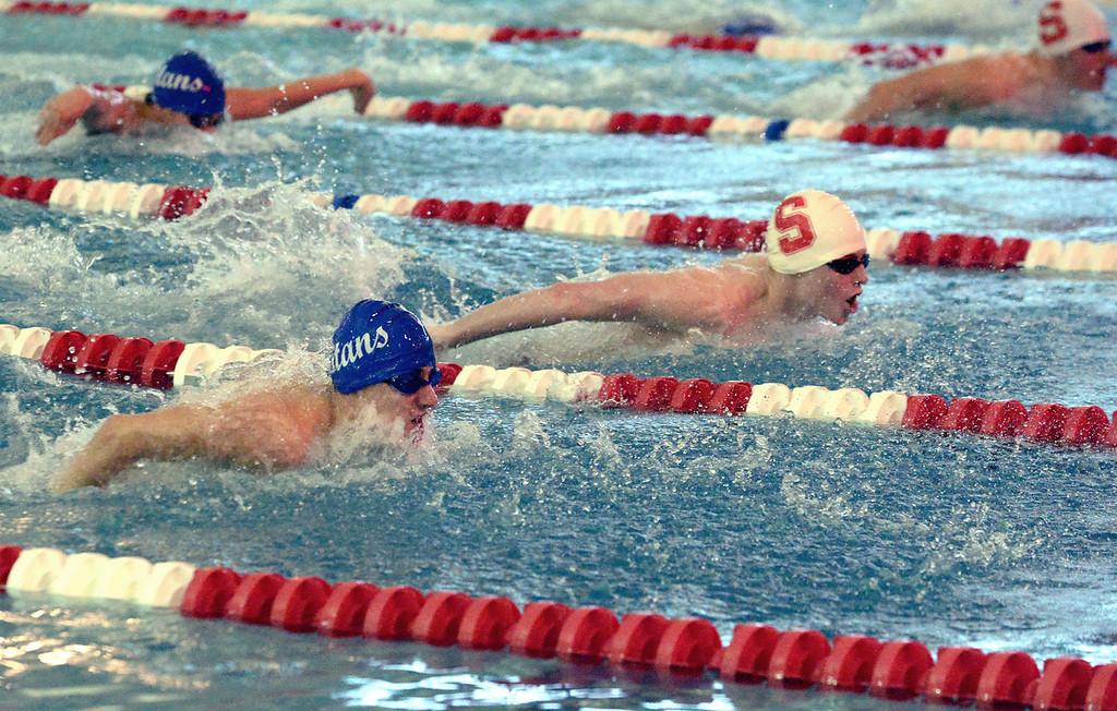 . (Bob Raines/Digital First Media)   Central Bucks South\'s Tom Khayt and Souderton\'s Rory Sinkinson compete in the boys 200 yard individual medley during Friday\'s meet at Souderton Jan. 12, 2018.