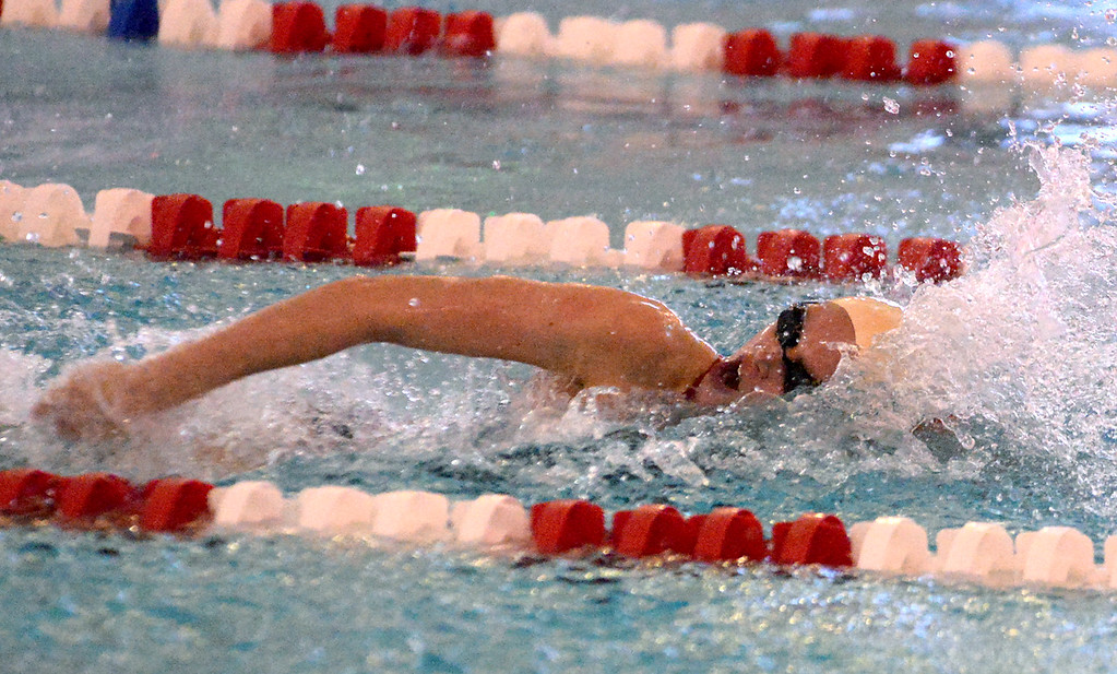 . (Bob Raines/Digital First Media)   Hailey Freed swims in the girls 50 yard freestyle for Souderton during Friday\'s meet with Central Bucks South Jan. 12, 2018.