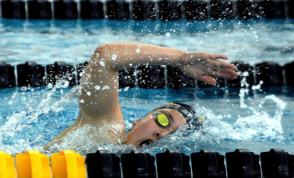 . Karis Kim swims the 200 yard freestyle for Wissahickon during Thursday\'s home meet with Mount Saint Joseph Academy Jan. 18, 2018.  (Bob Raines/Digital First Media)