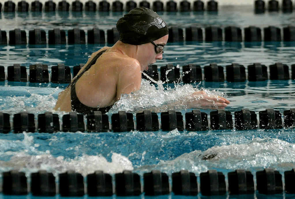 . Wissahickon\'s Maddie Hippensteal swims the breaststroke leg of the 200 yard medley relay during Thursday\'s home meet with Mount Saint Joseph Academy Jan 18, 2018.  (Bob Raines/Digital First Media)