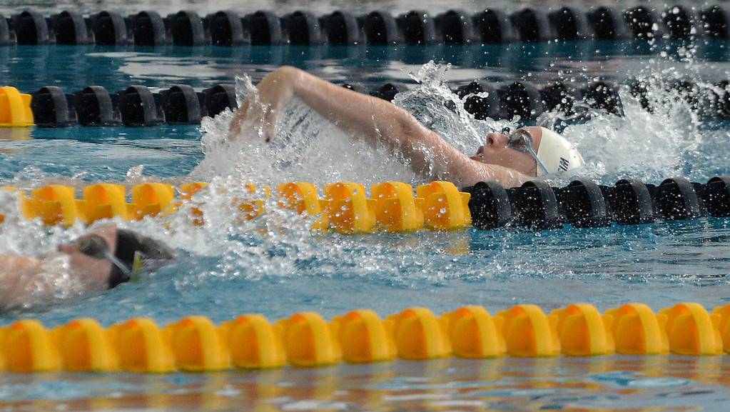 . Wissahickon\'s Carly Zlotnikoff finishes the backstroke leg of the 200 yard medley relay during Thursday\'s home meet with Mount Saint Joseph Academy Jan 18, 2018.  (Bob Raines/Digital First Media)