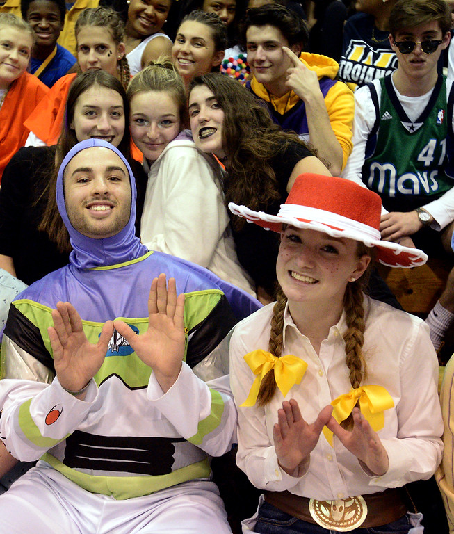 """. Costumed Wissahickon students pack the stands for \""""Silent Night\"""" at Friday night\'s home game against Quakertown, waiting silently until Wissahickon\'s eighth point before sending out a wall of noise Jan. 19, 2018.  (Bob Raines/Digital First Media)"""
