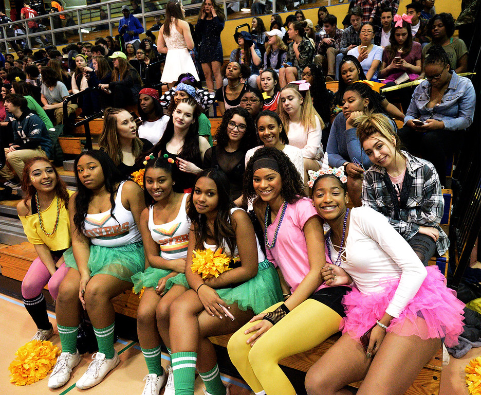 """. Costumed Wissahickon cheerleaders are ready for \""""Silent Night\"""" at Friday night\'s home game against Quakertown Jan. 19, 2018.  (Bob Raines/Digital First Media)"""