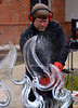 Kevin Gregory, owner of Ice Concepts, carves an ice sculpture for the Hatfield Fire and Ice Festival Jan. 21, 2017.  (Bob Raines--Digital First Media)