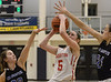 Megan Bealer(Souderton) goes up for a shot against Alexa Brodie and Haley Meinel (Central Bucks South) March 16, 2017.  (Bob Raines / Digital First Media)
