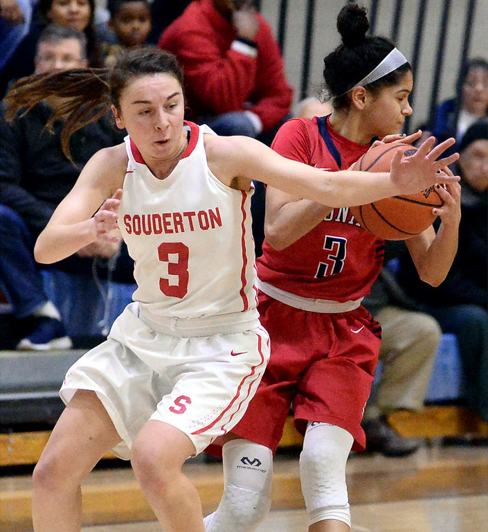 . Taylor O\'Brien (Plymouth Whitemarsh) steals the ball from Tori Dowd (Souderton) March 18, 2017.  (Bob Raines / Digital First Media)