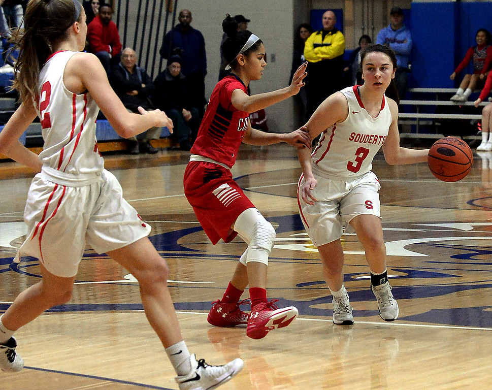 . Tori Dowd (Souderton) drives down court hoping to shed Taylor O\'Brien (PW) on a pick by Megan Walbrandt March 18, 2017.  (Bob Raines / Digital First Media)