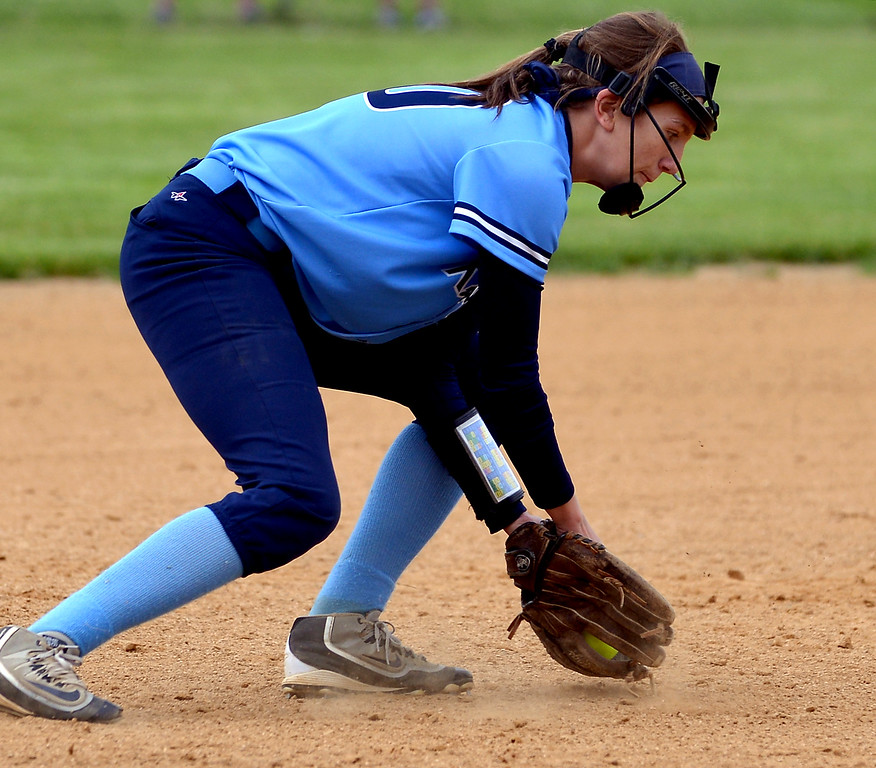 . North Penn shortstop Jamie Beer scoops a Central Bucks South ground ball May 11, 2017.  (Bob Raines/Digital First Media)