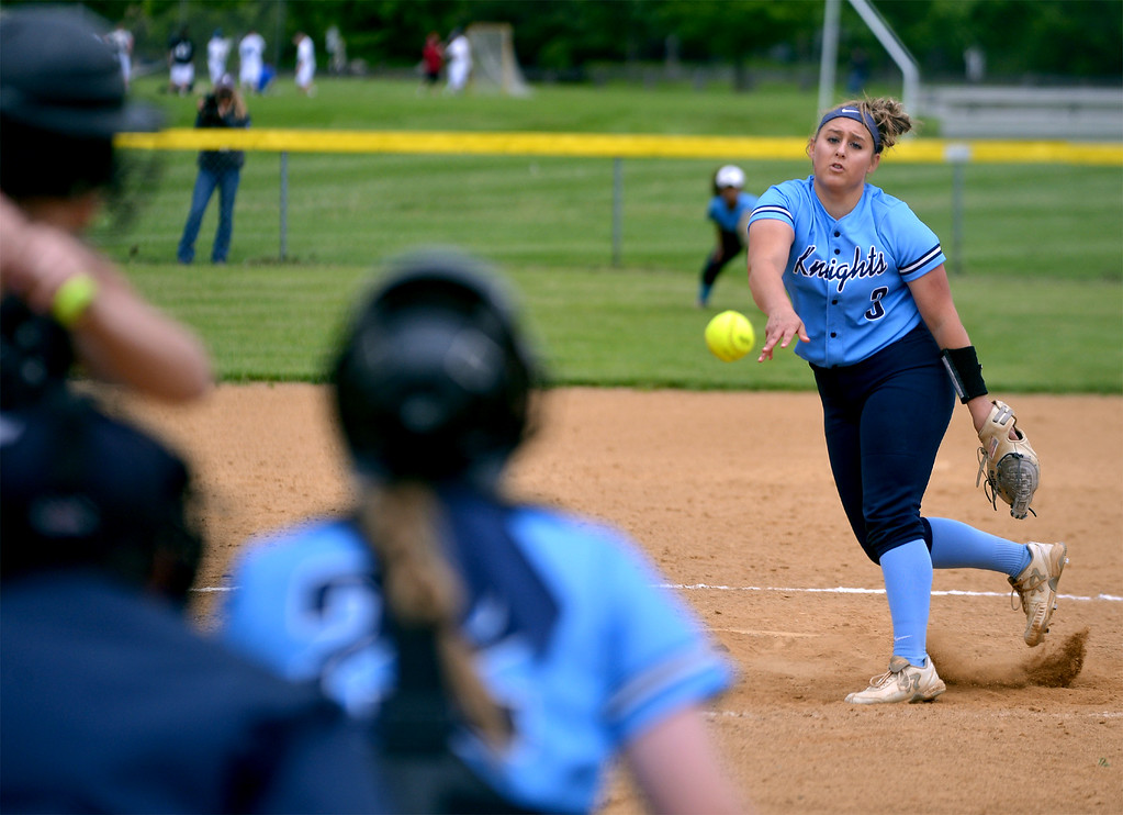 . North Penn\'s Bri Battavio pitches to Central Bucks South May 11, 2017.  (Bob Raines/Digital First Media)
