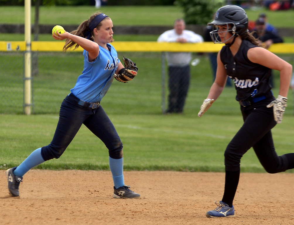 . North Penn second baseman Jordan Pietrzykoski throws to first after making the stop as Central Bucks South runner Alexa Ortman makes for second May 11, 2017.  (Bob Raines/Digital First Media)