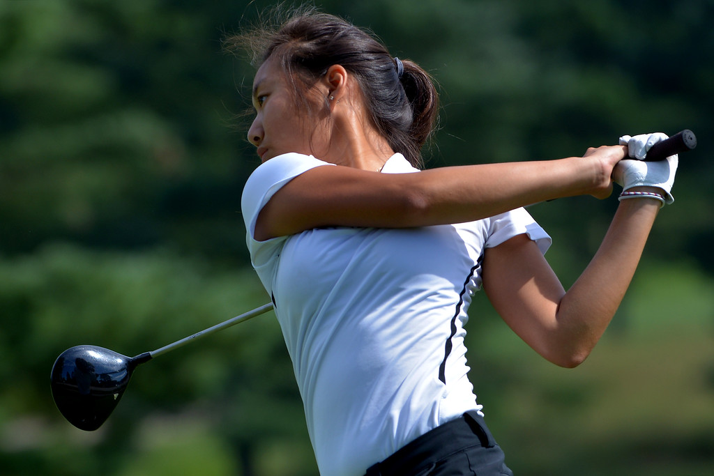 . Wissahickon\'s Cristea Park tees off during a scrimmage with Germantown Academy at Bluestone Country Club Aug. 23, 2017./ Bob Raines--Digital First Media