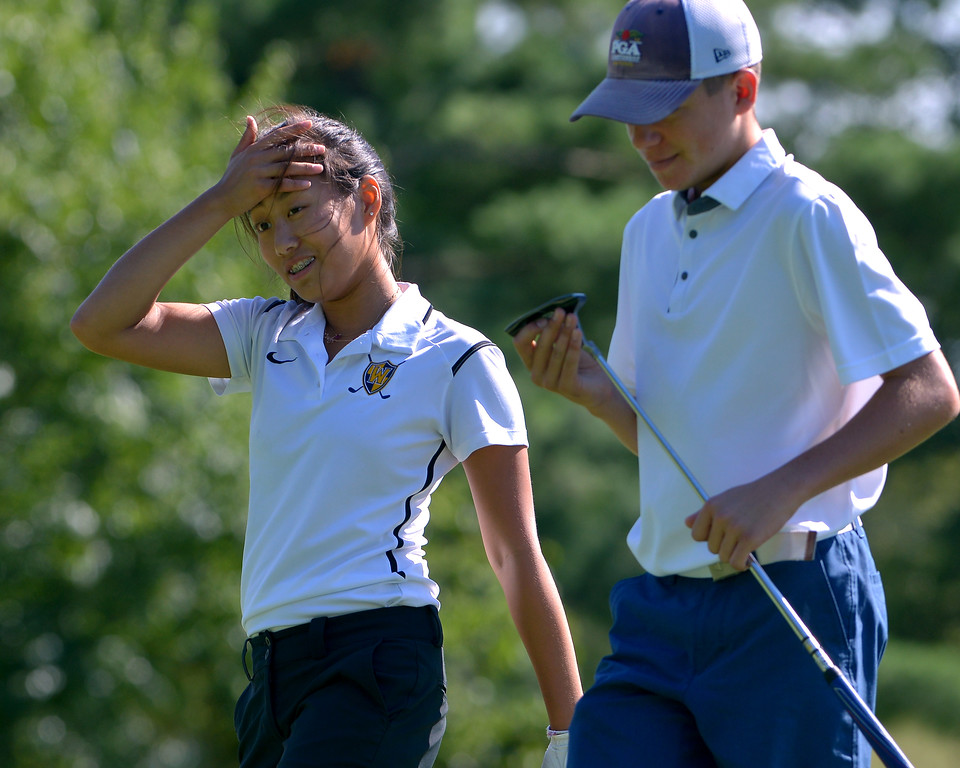 . Wissahickon\'s Cristea Park sank a hole-in-one on hole three during a scrrimmage with Germantown Academy at Bluestone Country Club Aug. 23, 2017. / Bob Raines--Digital First Media