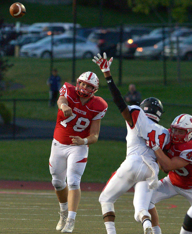 . Souderton punter Trevor Watts passes on a fourth down play against Hatboro Horsham Sept. 8, 2017. / Bob Raines--Digital First Media