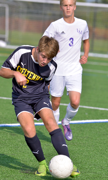 Max Brown (Cheltenham) boots the ball up field against Upper Moreland Sept. 12, 2017. / Bob Raines--Digital First Media