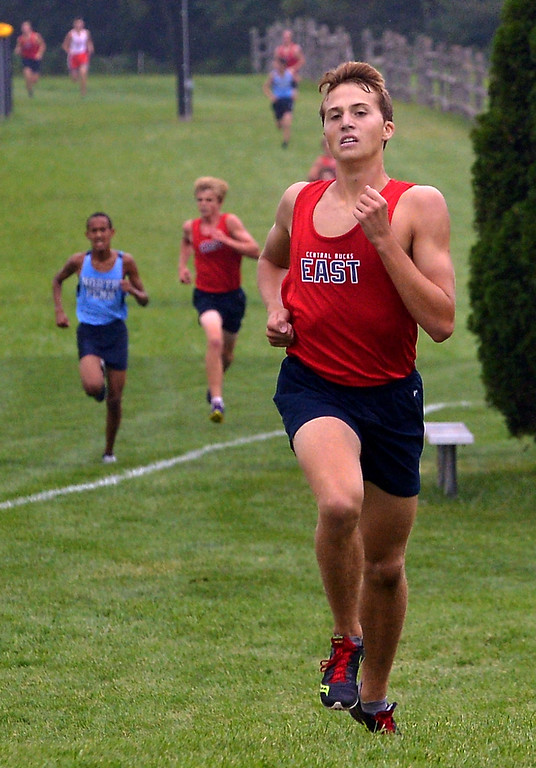 . Central Bucks East\'s David Endres sprints for a  second place finish in the cross country tri-meet with North Penn and Souderton at North Penn High School Sept. 13, 2017. / Bob Raines--Digital First Media