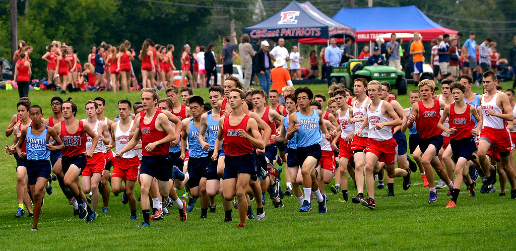 . Runners from North Penn, Souderton, and Central Bucks East begin their cross country journey around the North Penn High School campus Sept. 13, 2017. / Bob Raines--Digital First Media