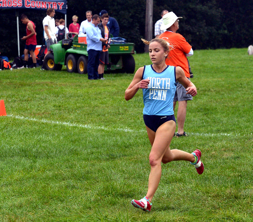 . North Penn\'s Ariana Gardizy strides into the second half of in the cross country tri-meet with Central Bucks East and Souderton at North Penn High School Sept. 13, 2017. / Bob Raines--Digital First Media