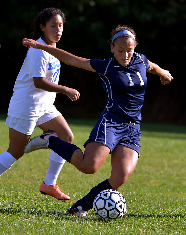 . Pottstown\'s Julianna Figueroa boots a shot on goal during the game at Norristown Sept. 20, 2017. / Bob Raines--Digital First Media