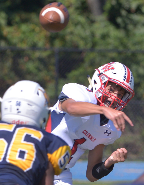 . Plymouth Whitemarsh quarterback Larry McLaughlin launches a pass over the middle during the game at Wissahickon Sept. 23, 2017. / Bob Raines--Digital First Media