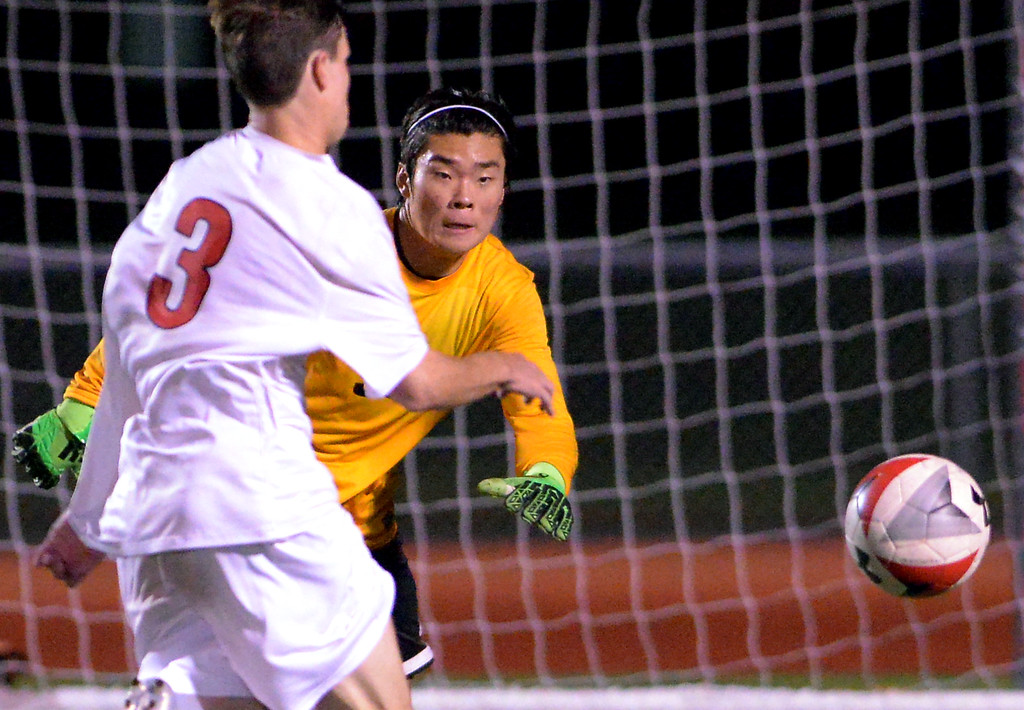 . Wissahickon goal keeper Jun Yuh moves to block a shot by Hatboro Horsham\'s Danny Harmon Oct. 10, 2017. / Bob Raines--Digital First Media