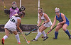 Lansdale Catholic's Julianna Connors drive a shot at Conwell-Egan goal as Lindsay Currie screens Conwell-Egan's Bridget Faherty Oct. 11, 2017. /  Bob  Raines--Digital First Media