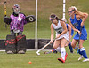 Lansdale Catholic's Julianna Connors tries to backhand a shot at Conwell-Egan goal keeper Hannah Calderone Oct. 11, 2017. / Bob  Raines--Digital First Media