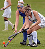 Conwell-Egan's Bridget Faherty and Lansdale Catholic's Lindsay Currie battle for the ball Oct. 11, 2017. / Bob Raines--Digital First Media