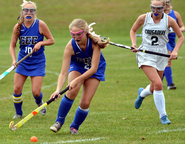 Conwell-Egan's Arielle Devine moves the ball with Lansdale Catholic's Kaitlyn Boyle in pursuit Oct. 11, 2017. / Bob Raines--Digital First Media