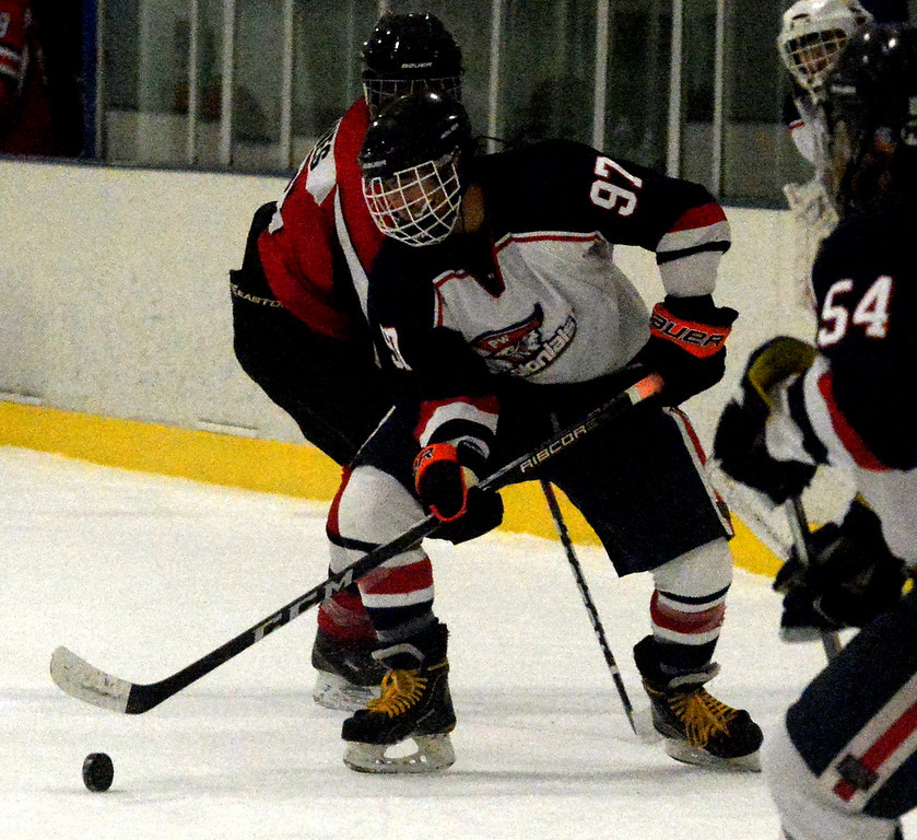 . Plymouth Whitemarsh\'s Brandon Pham comes away from the boards with the puck in Wednesday\'s game against Hatboro Horsham Nov. 29, 2017. (Bob Raines--Digital First Media)