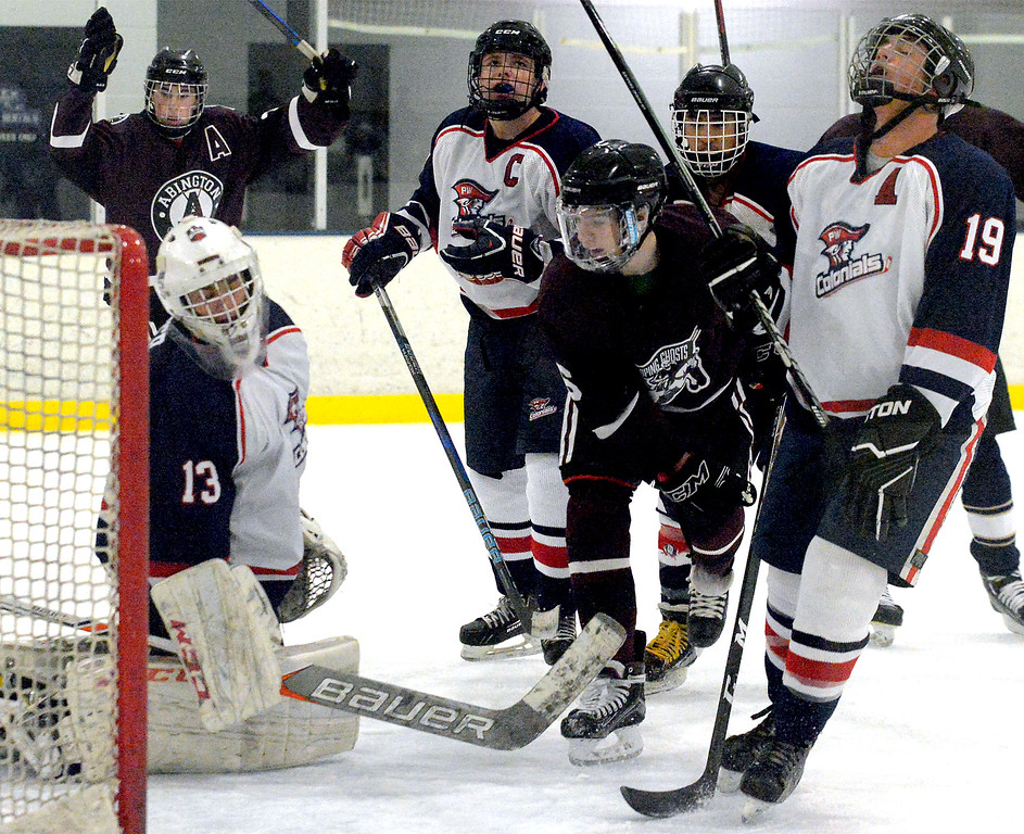 . Abington\'s Colin Bruton scores on Plymouth Whitemarsh goal keeper Ben Yuter Dec. 6, 2017. (Bob Raines--Digital First Media)