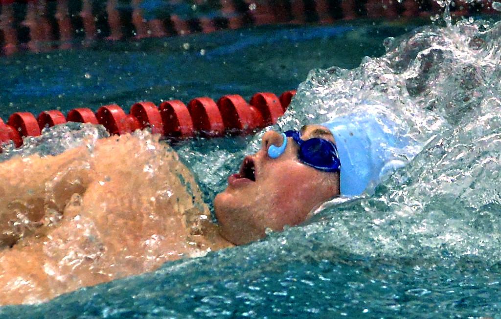 . North Penn\'s Aidan Daly swims backstroke in the 200 medley relay against St. Joe\'s Prep Dec. 12, 2017. (Bob Raines/Digital First Media)
