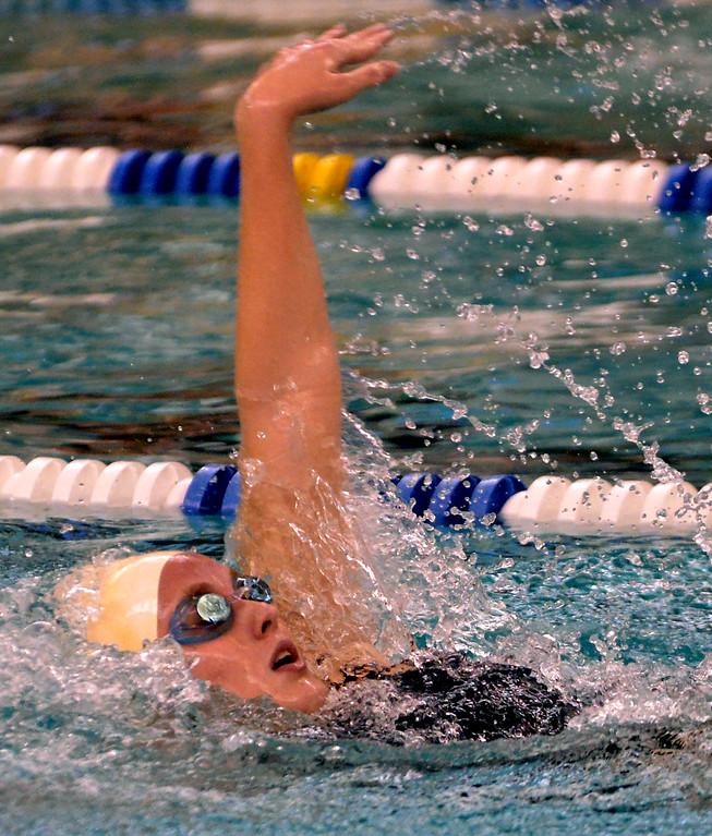 . North Penn\'s Maureen Boland Bintner swims the 200 individual medley against Mt. St. Joseph Academy Dec. 12, 2017. (Bob Raines/Digital First Media)