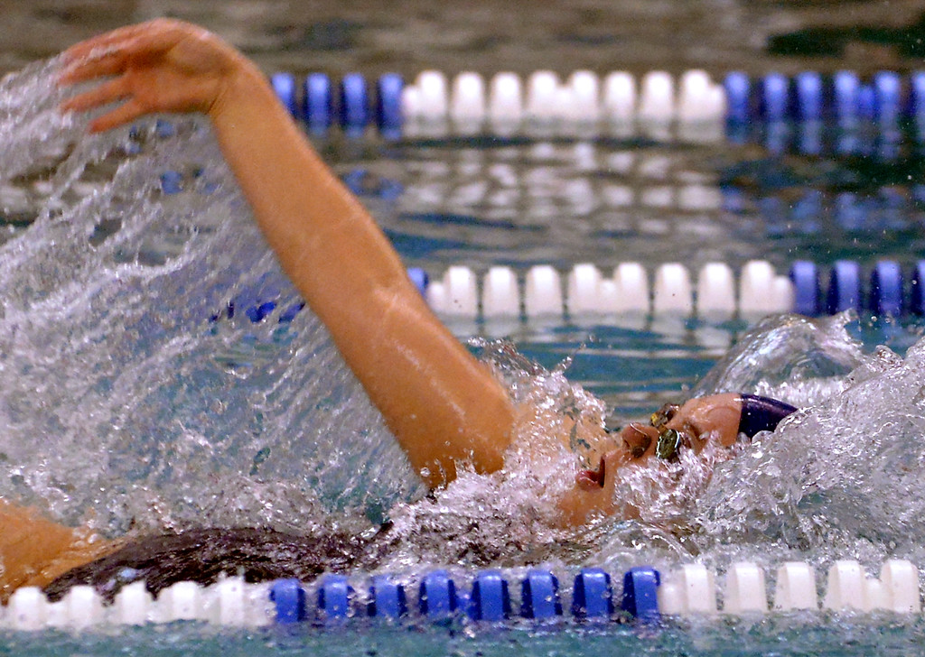 . North Penn\'s Maddy Koerper swims backstroke in the 200 medley relay against Mount St. Joseph Academy Dec. 12, 2017. (Bob Raines/Digital First Media)