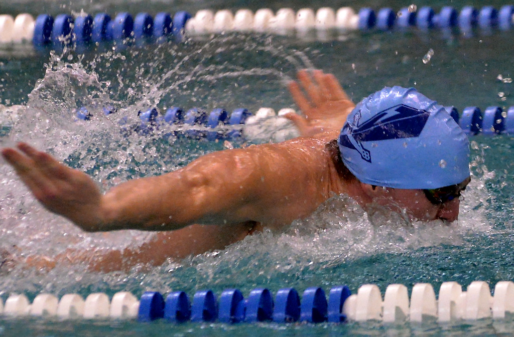 . North Penn\'s Noah Jamieson swims butterfly in the 200 medley relay against St. Joe\'s Prep Dec. 12, 2017. (Bob Raines/Digital First Media)