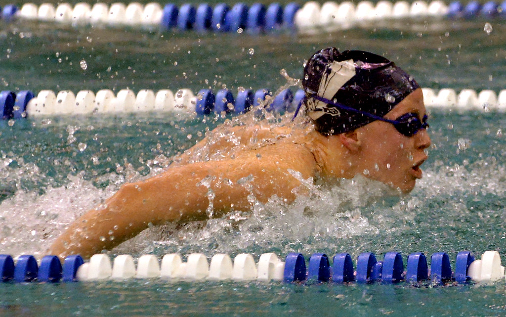 . North Penn\'s Claudia Thamm swims butterfly in the 200 medley relay against Mount St. Joseph Academy Dec. 12, 2017. (Bob Raines/Digital First Media)