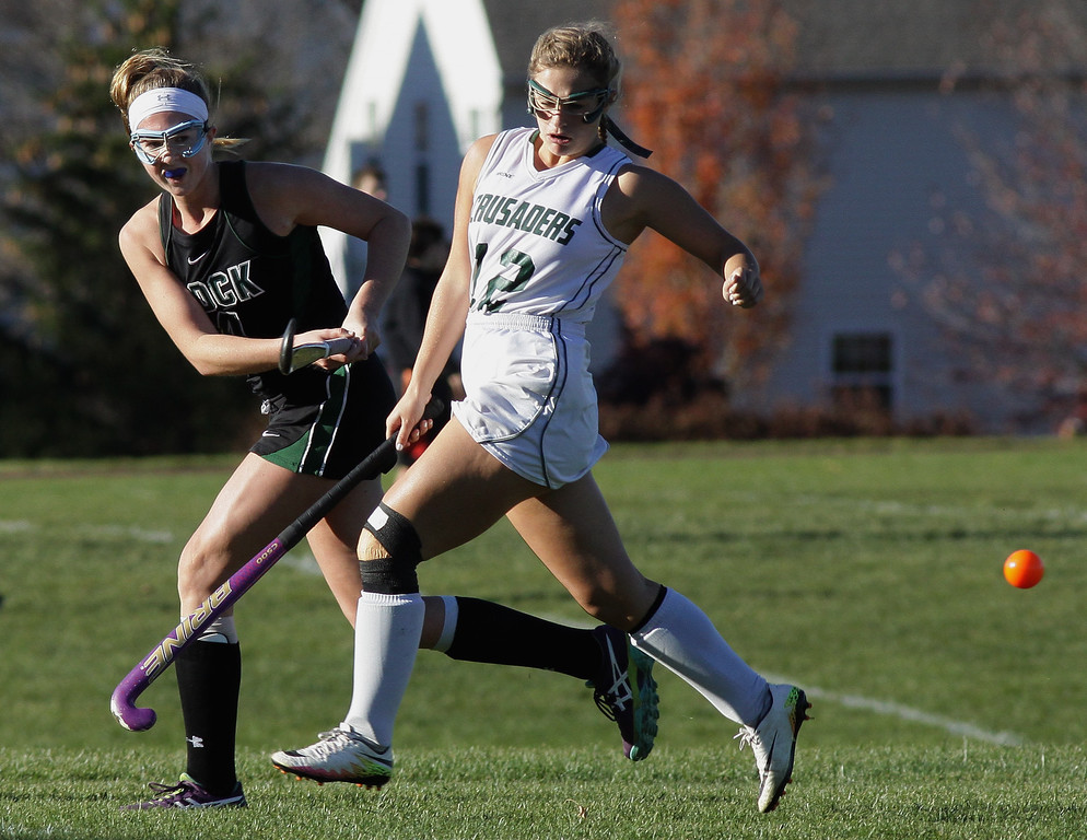 . Kate Strickland (Christopher Dock) drives the ball to the center past Hailey Granoni (Lansdale Catholic)  Nov. 4, 2016.   |   Bob Raines--Digital First Media