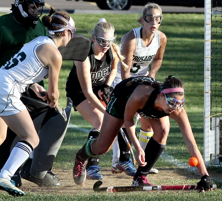 . A shot by Julianna Connors (Lansdale Catholic) hits Jill Bolton (Christopher Dock) on her forearm, preventing a score while goal keeper Liz Wanamaker was out of position Nov. 4, 2016.   |   Bob Raines--Digital First Media